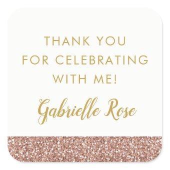 Rose Gold Glitter Favor Sticker Label
