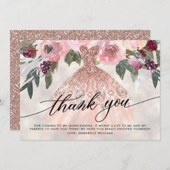 Rose Gold Glitter Floral Quinceañera Thank You