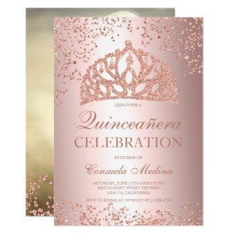 Rose gold glitter foil photo tiara Quinceañera