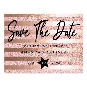Rose Gold Glitter & Foil Quinceañera Save The Date Post