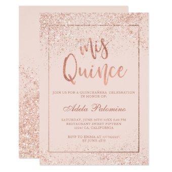 Rose gold glitter frame script blush Quinceañera