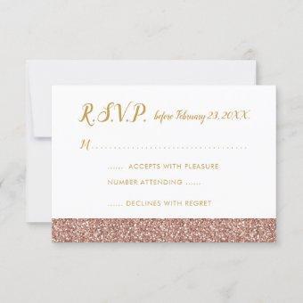 Rose Gold Glitter & Gold RSVP A1