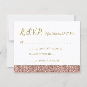 Rose Gold Glitter & Gold RSVP Card A2