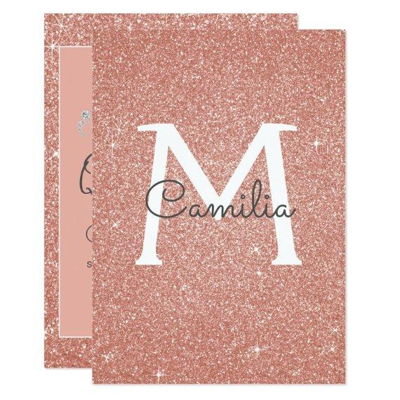 Rose Gold Glitter Monogram Sparkle