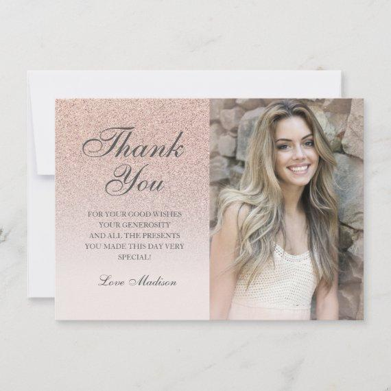 Rose gold glitter photo thank you chic Quinceañera