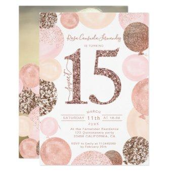 Rose gold glitter pink balloons photo
