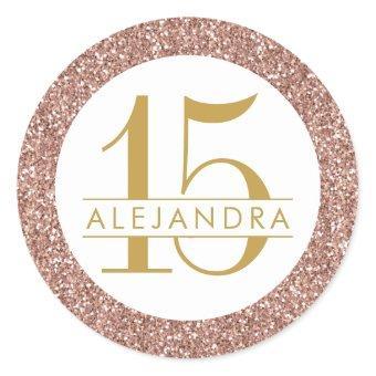 Rose Gold Glitter Quince Años Favor Sticker Label