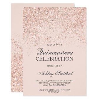 Rose gold glitter sparkles blush chic Quinceañera