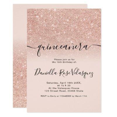 Rose gold glitter sparkles pink ombre