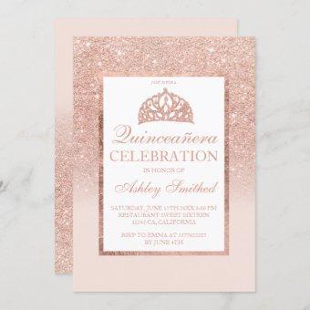Rose gold glitter tiara elegant chic Quinceañera