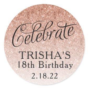 Rose Gold Omber Glitter Birthday Favor Tag