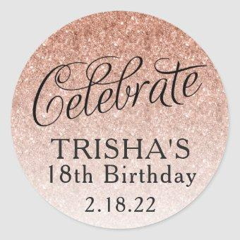 Rose Gold Ombre Glitter Birthday Favor Tag