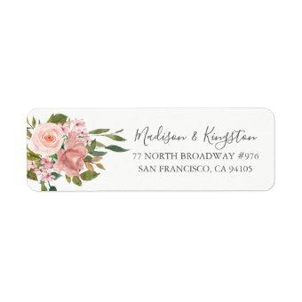 Rose Gold Pink Blush Return Address Label
