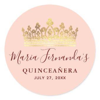 Rose Gold Pink Crown Elegant Name Classic Round Sticker