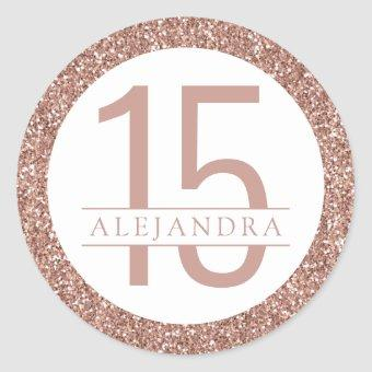 Rose Gold Pink Glitter Modern Quince Años Favor Classic Round Sticker