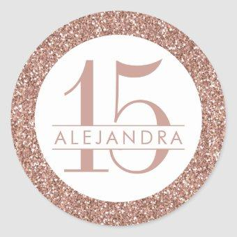 Rose Gold Pink Glitter Quince Años Favor Classic Round Sticker