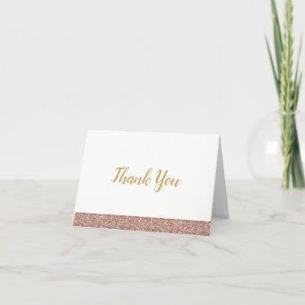 Rose Gold Pink Glitter Thank You Note