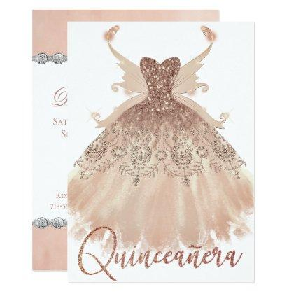 Rose Gold Sparkle Gown Pixie Wings