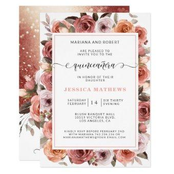 Rose Gold Quinceañera with Pink and Blush Floral
