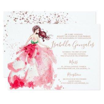 Rose Gold Sparkle Dress Quinceañera