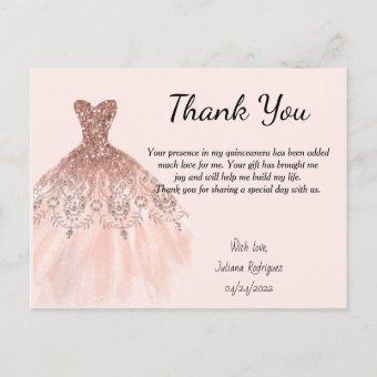 Rose Gold Sparkle Dress Thank you Quinceañera