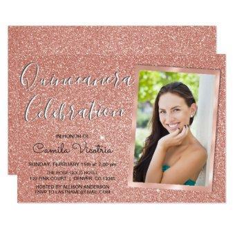 Rose Gold Sparkle Glitter Quinceañera Celebration