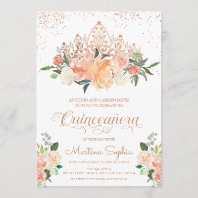 Rose Gold Tiara & Blush Pink Florals