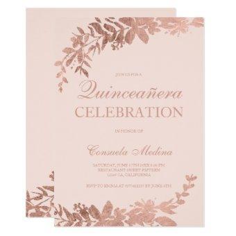 Rose gold typography Floral blush pink