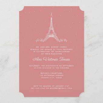 Rose Pink Eiffel Tower Under the Stars Quinceañera