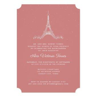 Rose Pink Eiffel Tower Under the Stars Quinceañera