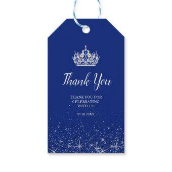Royal Blue and Silver Glitter Gift Tags