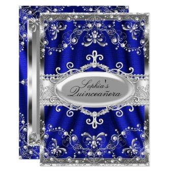 Royal Blue And Silver Jewel Damask