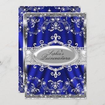 Royal Blue And Silver Jewel Damask