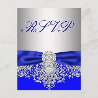 Royal Blue and Silver RSVP Response