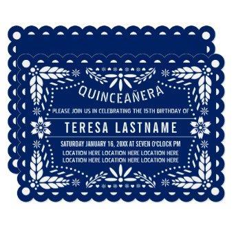 Royal blue and white papel picado Quinceañera