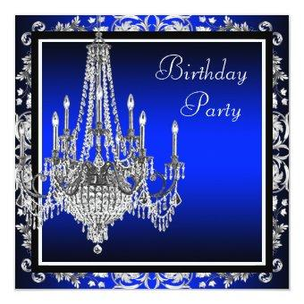 Royal Blue Damask Chandelier Birthday Party