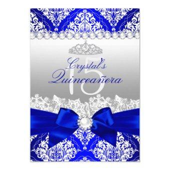 royal blue damask pearl bow invite - Royal Blue Quinceanera Invitations