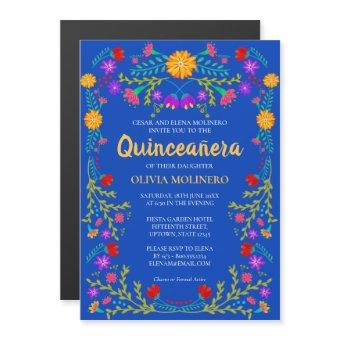 Royal Blue Floral Folk Art Mexican Magnetic