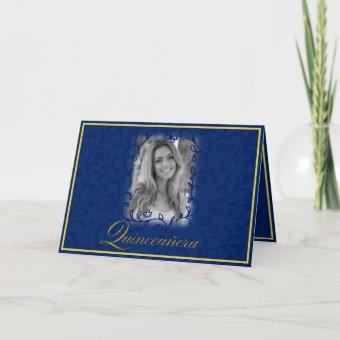 Royal blue floral vines with photo