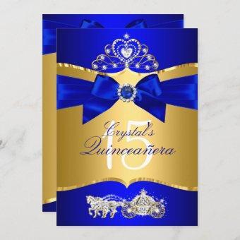 Royal Blue Gold Tiara Pearl Bow