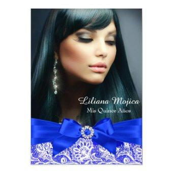 Royal Blue Lace & Jewel Bow