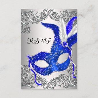 Royal Blue Mask Masquerade Party RSVP