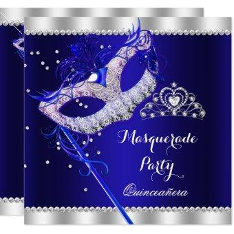 Royal Blue Masquerade Party Mask Gems
