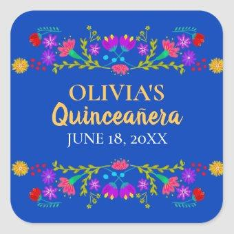 Royal Blue Mis Quince Anos Mexican Fiesta Flowers Square Sticker