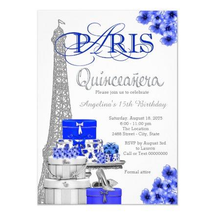 Royal Blue Paris Quinceanera Invitation