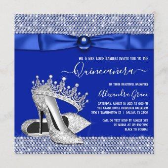 Royal Blue Diamond Tiara Shoe