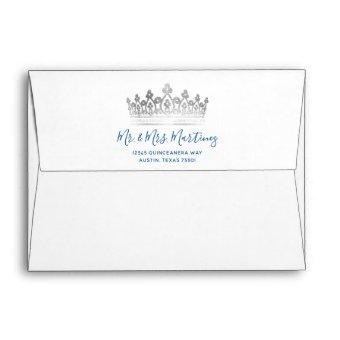 Royal Blue Silver Crown Butterfly Return Address Envelope