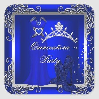 Royal Blue Silver Blue High Heel Shoes Square Sticker
