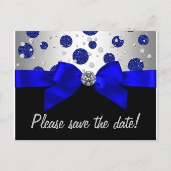 Royal Blue Silver Save The Date Announcement Post