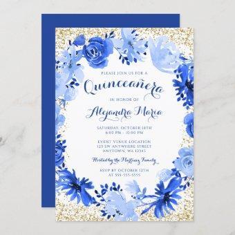 Royal Blue Watercolor Floral Gold